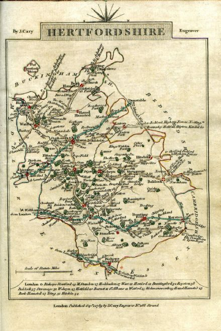 Hertfordshire County Map by John Cary 1790 - Reproduction